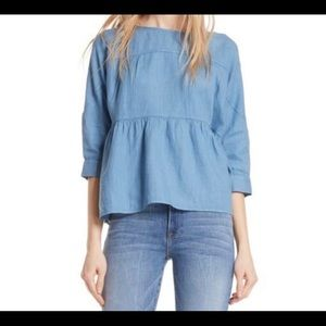 Frame Blue Heaven Linen Tiered Top